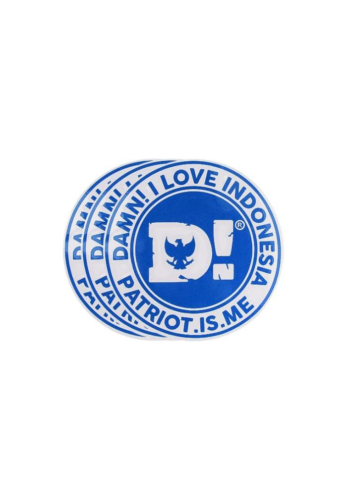 damn! i love indonesia sticker iconic d! blue - biru