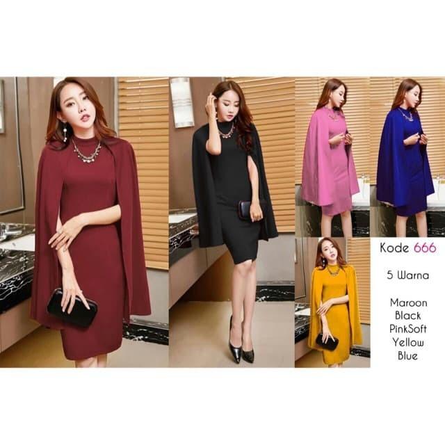 Midi Dress 666L / Baju pesta / Baju Import/ Baju Nikah / Gaun Scuba