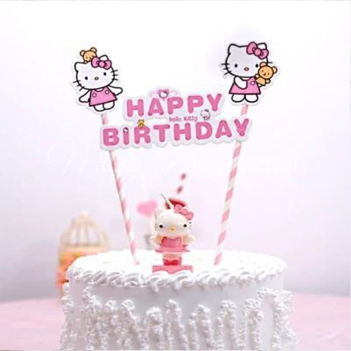 TOPPER CAKE HBD HELLO KITTY/ CAKE TOPPER HAPPY BIRTHDAY HELLO KITTY