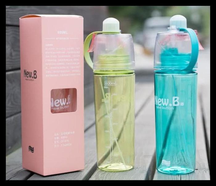 Botol Minum New B Sport Spray Water Bottle 600 Ml - Biru Muda