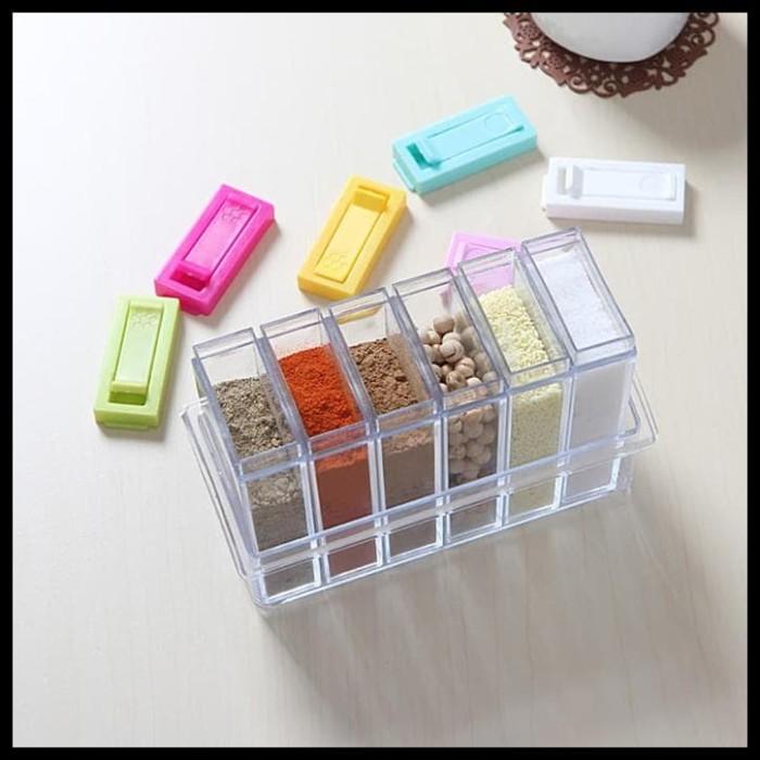 Rak Tempat Bumbu 6 In 1 Seasoning Box Serbaguna - Kristal Unik - Rak