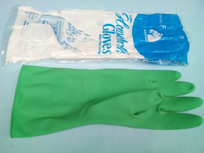 YOUNG YOUNG Latex Gloves IL SARUNG TANGAN DCOLOR 8.5INCH Karet Rubber - Pink. Source. Source. ' Sarung tangan karet hijau tebal panjang