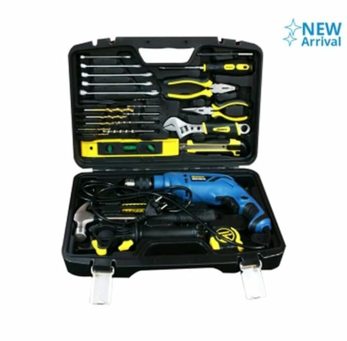 Mesin Bor Listrik Beton Impact Drill Set Krisbow 37 pcs Tools