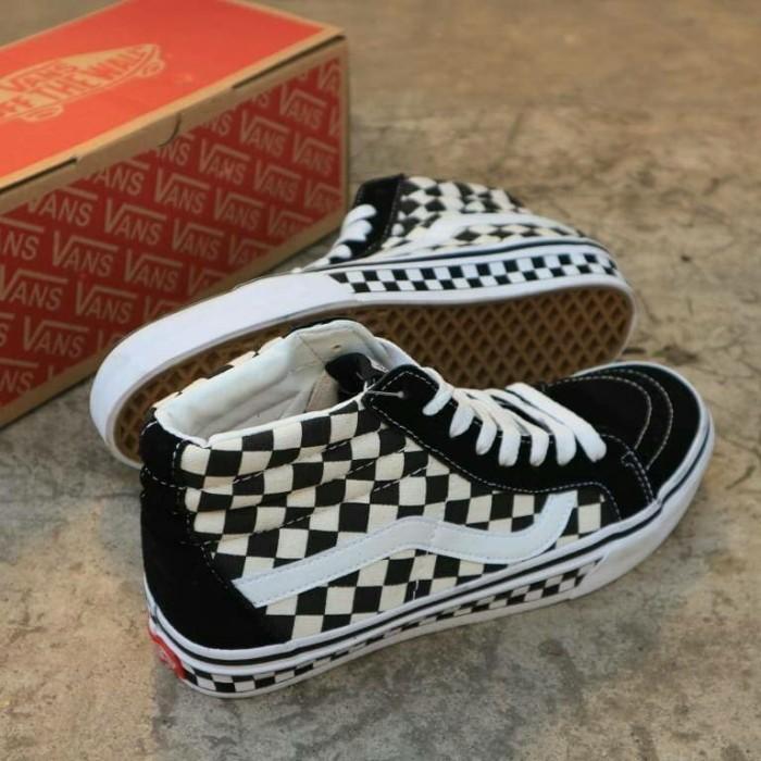 Jual Sepatu Vans Sk8 Checkerboard Black White - Putih a2816eca15