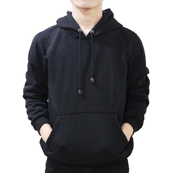 Jual jaket polos sweater polos hitam sangar hoodie murah grosir ... 6ba6e1e224