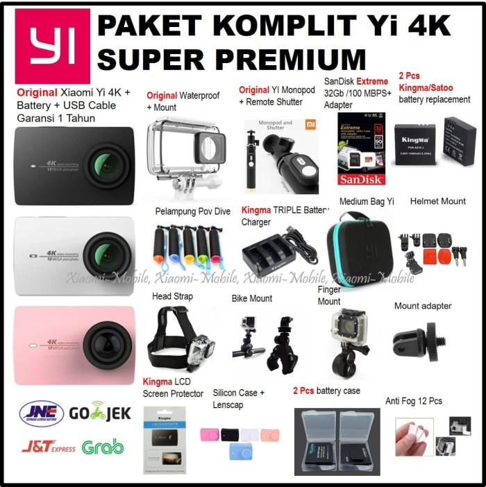 Paket Komplit Super Premium Xiaomi Yi Versi 2 4K Action Camera - Hitam