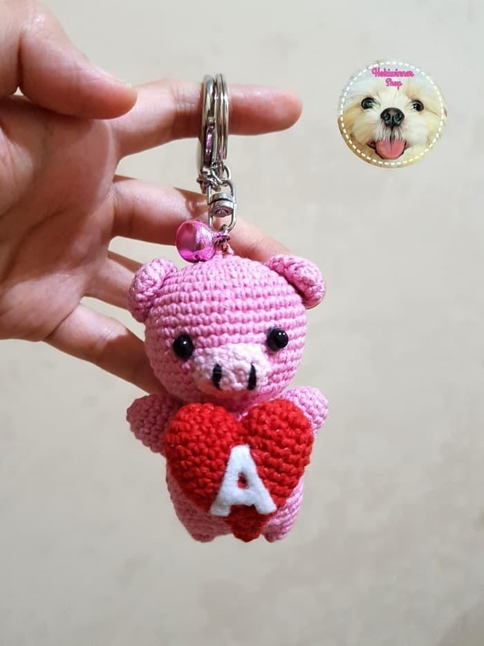 Gantungan kunci  tas - boneka amigurumi crochet rajut piggy heart 0022340490