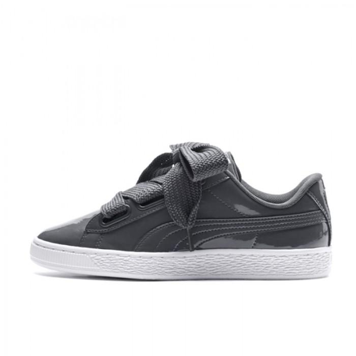 Jual Sepatu Sneakers Puma Wmns Basket Heart Patent Dark Grey Original 36307 Ncr Sport OS | Tokopedia