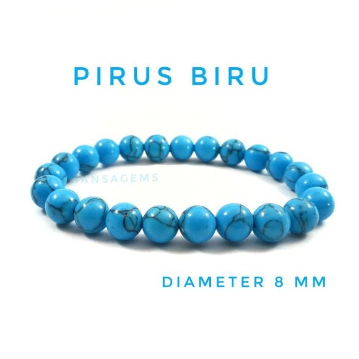 Gelang Batu Pirus Biru Diameter 8 Mm Berkualitas Best Quality