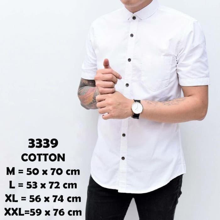 Foto Produk Baju Kemeja Lengan Pendek Casual Formal Pria Putih Polos Slimfit - Putih, M dari Virtual Custom Clothing