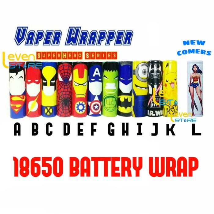 Foto Produk 18650 Battery Sleeve PVC Wrap Superheroes Edition | Batere | Batre dari Leven