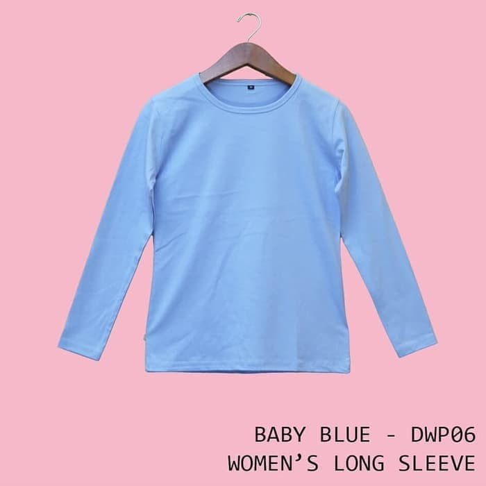 Jual Kaos Polos Baju Dewasa Wanita Lengan Panjang Warna Biru Baby Dwp06 Biru Muda Xl Kota Bandung Cheapapparel Tokopedia