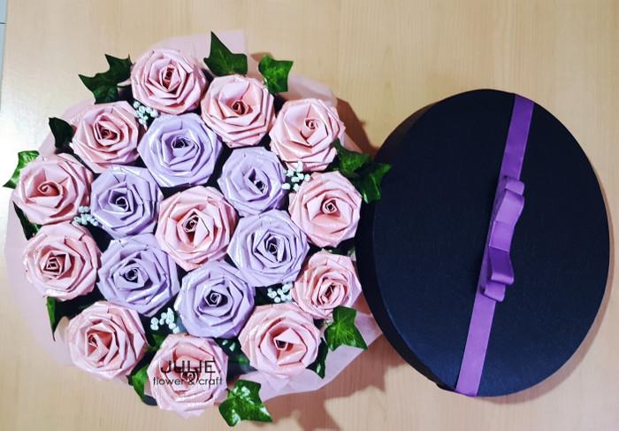 Jual Hand Bouquet Rangkaian Karangan Bunga Mawar Kertas Kota Bandung Paperose Tokopedia
