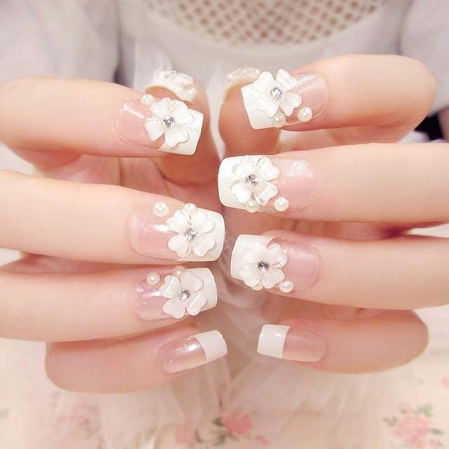 Model Kuku Nail Art: Jual Wedding Fake Nail 3d White Flower Kuku Palsu