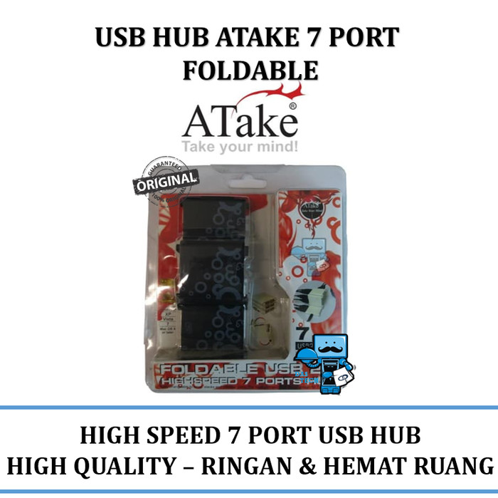 Foto Produk USB HUB 7 Port ATAKE Foldable (bisa dilipat) USB 2.0 - 7 ports hub dari Das Livia Computer