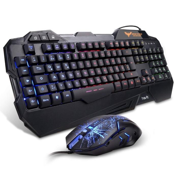 326e0c85697 HAVIT HV-KB558CM LED Backlit Wired Gaming Keyboard Mouse Combo New - Hitam