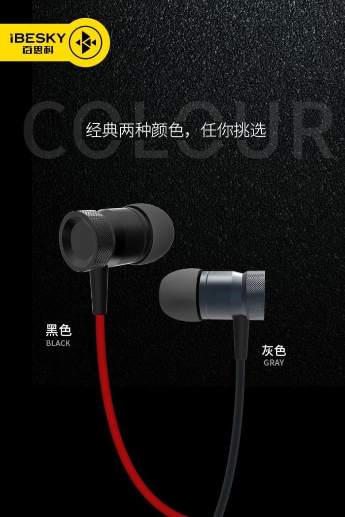 handsfree earphones/headset ibesky b-hs730 original - merah