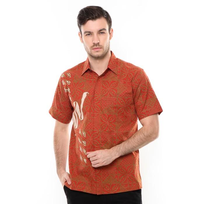 agrapana kemeja batik cap sakwari orange - orange m