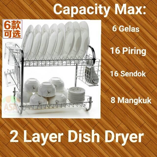 [ 1 KG ] Rak Piring 2 Susun / 2 Layer Dish Drainer