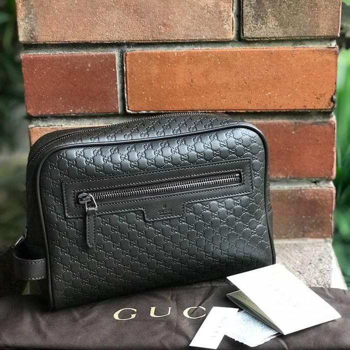 42ff24b1b21 Jual Gucci Clutch Men Embossed Black. Pouch Gucci Original Men Black ...