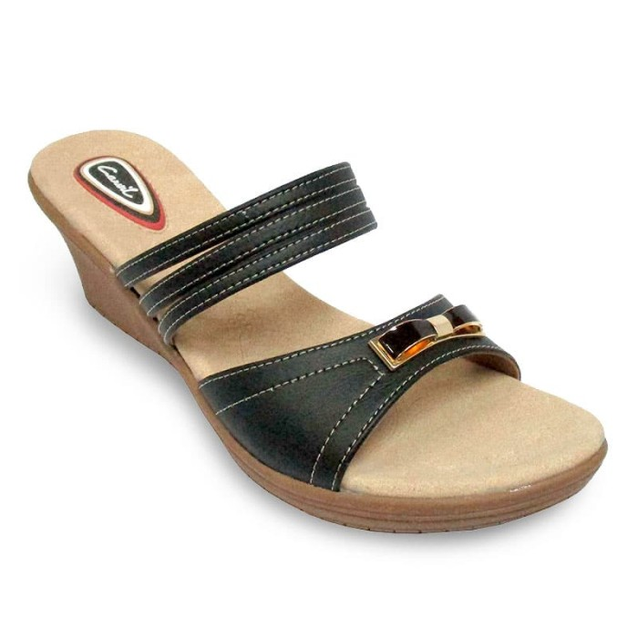 carvil sandal casual ladies fuzy 03 l black - flash sale - hitam 36