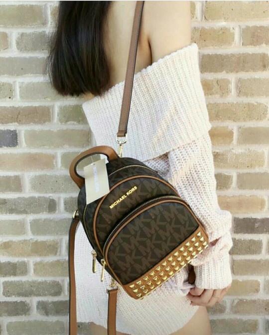 33ca43ff595d07 Jual 35T7GAYBOB MK Abbey Brown Xs Studded Mini Backpack Brown Acorn ...
