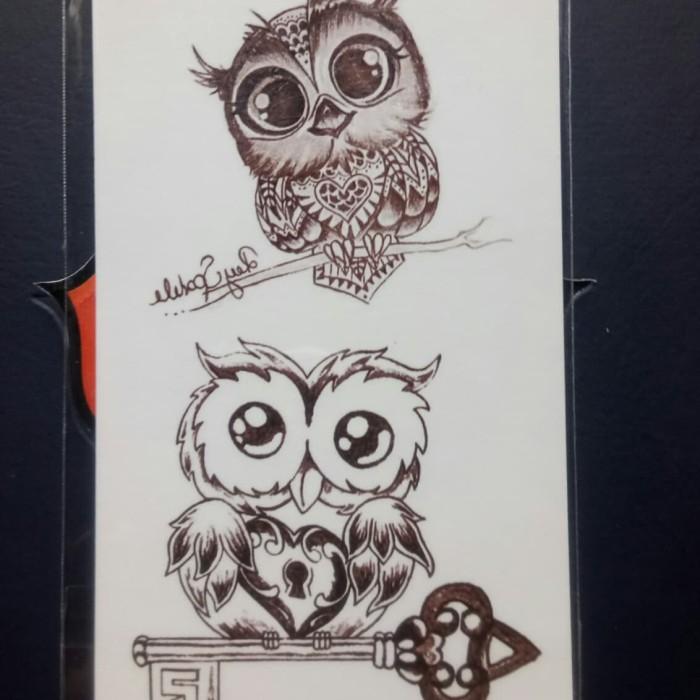 Jual Tato Temporer Burung Hantu Rc 458 Owl Temporary Tattoo Kota