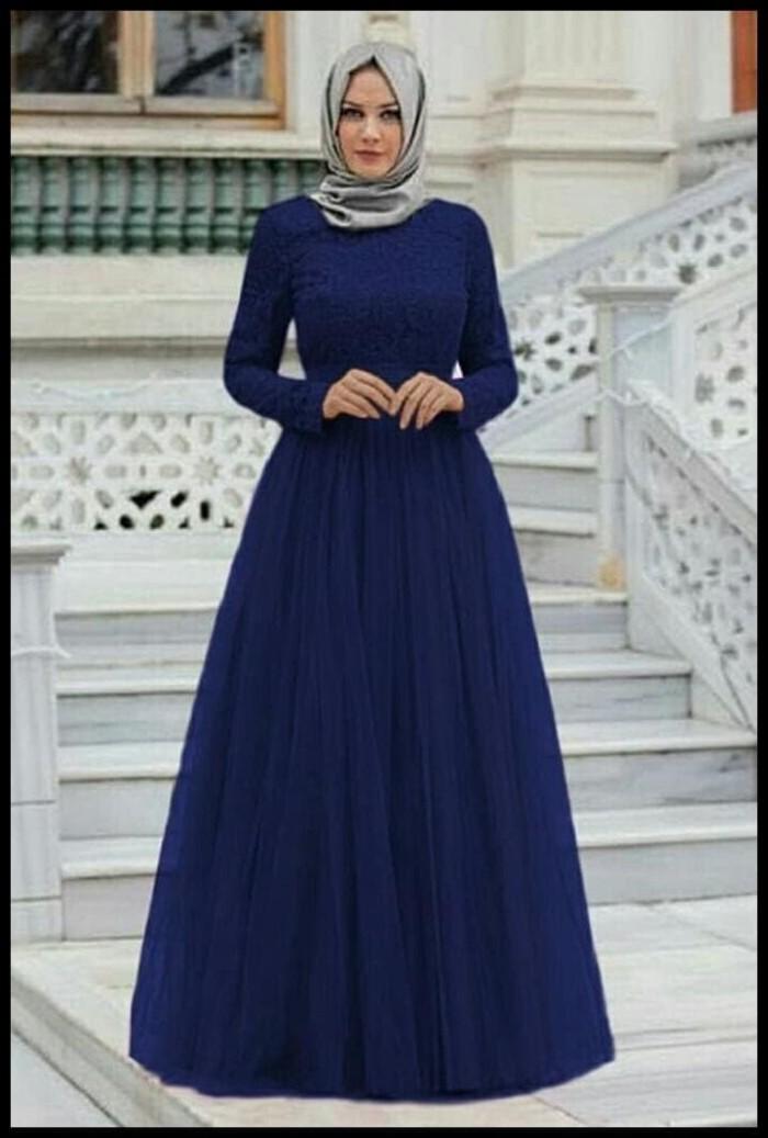 Jual Baju Wanita Dress Panjang Longdress Sweet Brokat Tile Princess Hijab Jakarta Selatan Pasar Raya Tokopedia