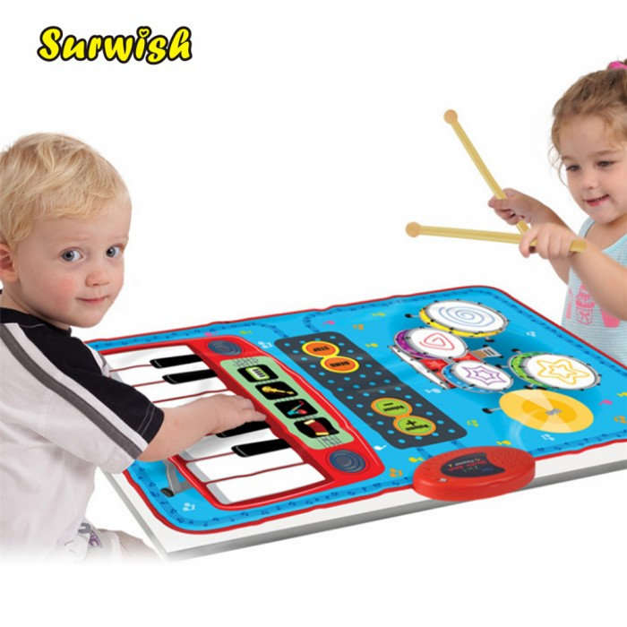harga New 2 in 1 mini batterypowered drum piano musical touch play baby Tokopedia.com