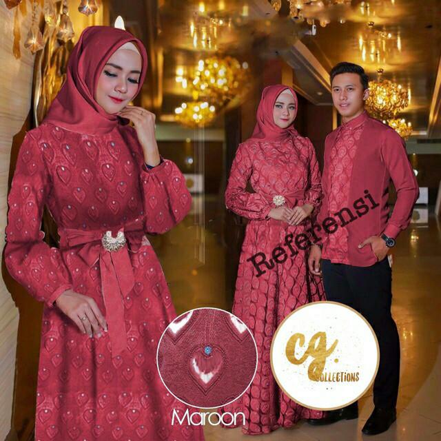 harga Gamis couple organza bulu merak gaun pesta muslim hijab Tokopedia.com