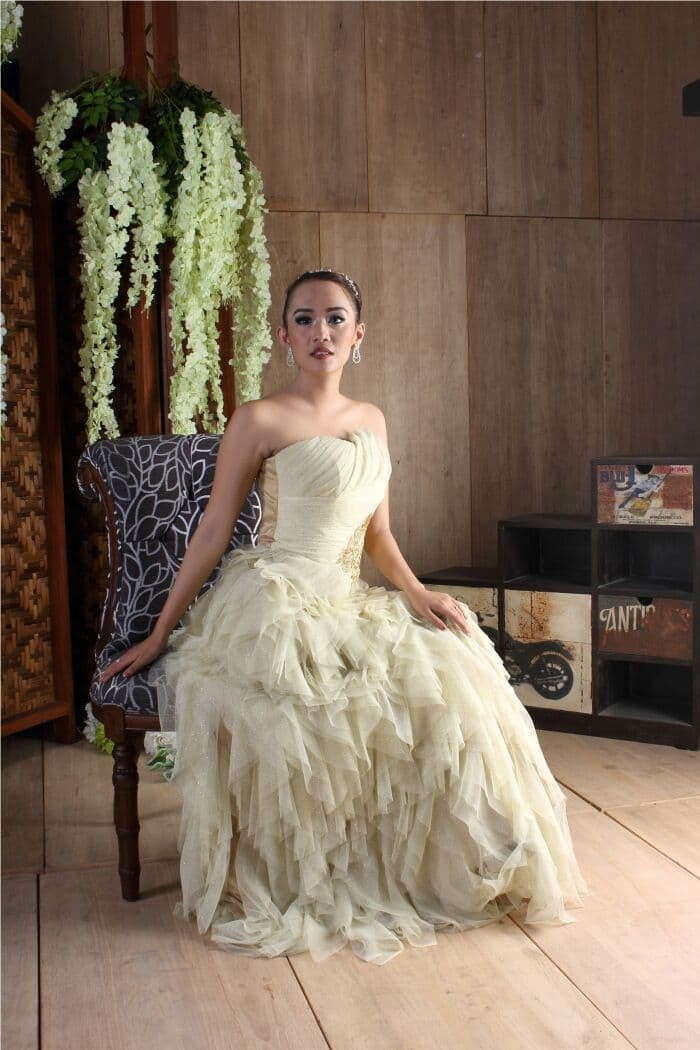 Jual Gaun Pesta Long Dress Tile Kombinasi Brokat Baju Pengantin
