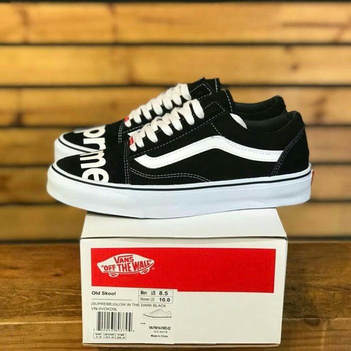 2adad0a24bb949 Sepatu Vans Oldskool Supreme Black White Glow in The Dark Premium ICC