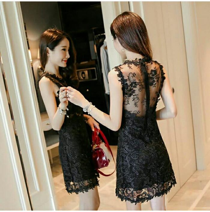 Jual Gaun Pesta Full Brokat Mewah Hitam Fashionstylekorea