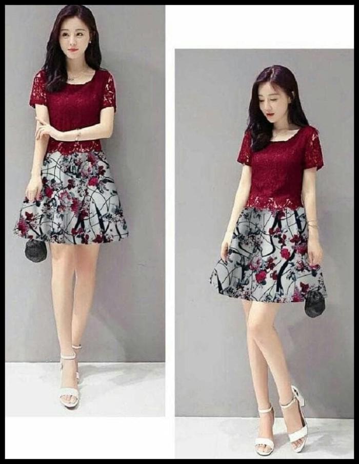 Jual Baju Wanita Dress Pendek Brukat Mini Dress Red Brokat Flower Abstrak Dki Jakarta Pasar Raya Tokopedia