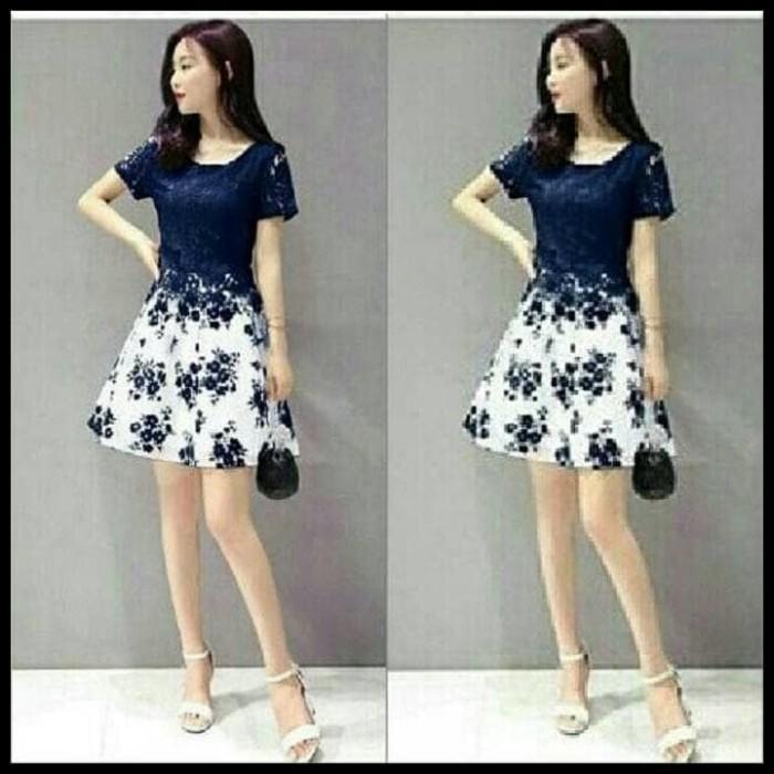 Jual Baju Wanita Dress Pendek Brukat Mini Dress Navy Brokat Flower Jakarta Selatan Pasar Raya Tokopedia