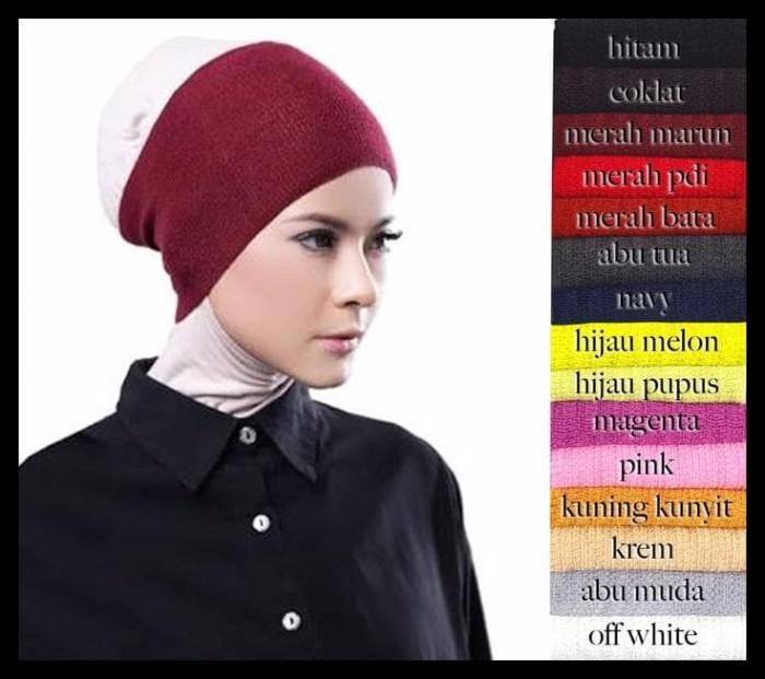 Diskon Ciput Inner Bandana Hijab Rajut Polos Anti Pusing Wanita