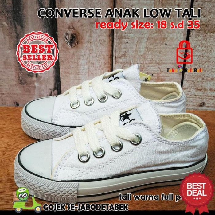 Jual sepatu converse all star low anak bertali full putih ... ec3a72239b