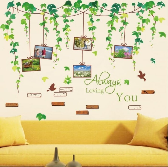 jual wall sticker xl8148 grape leaves frame - stiker dinding