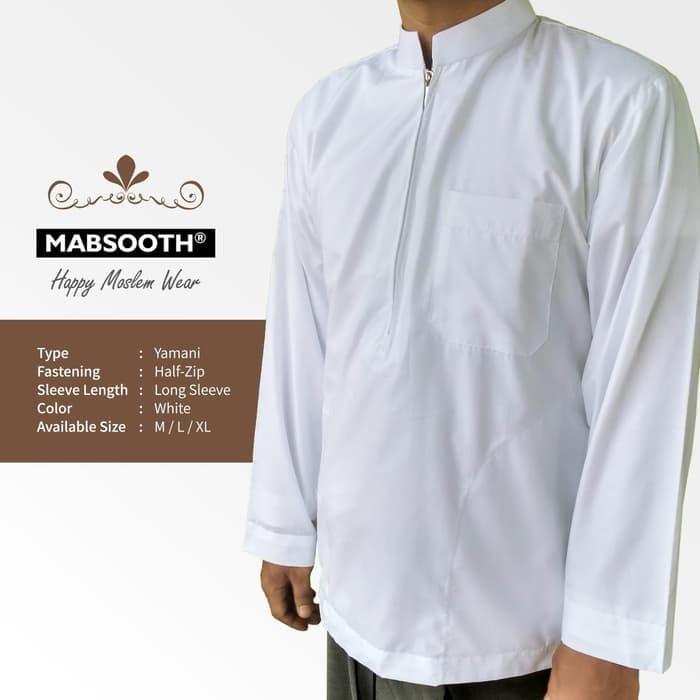 Jual New! Baju Koko Resleting Pria Muslim Putih Polos