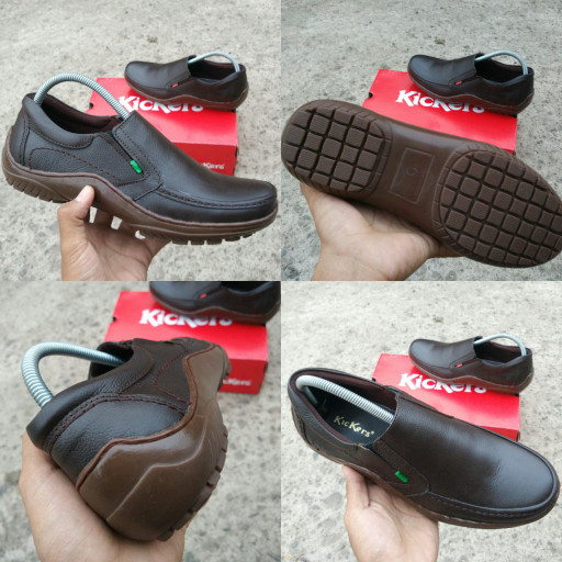 Jual Sepatu pria kickers casual slop kulit - Cokelat 620d51af3e