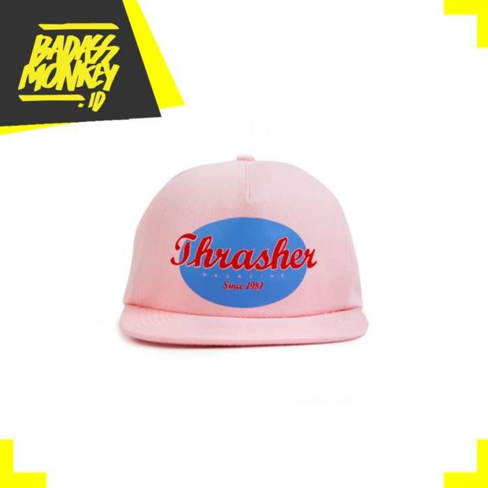 Thrasher oval snapback hat pink