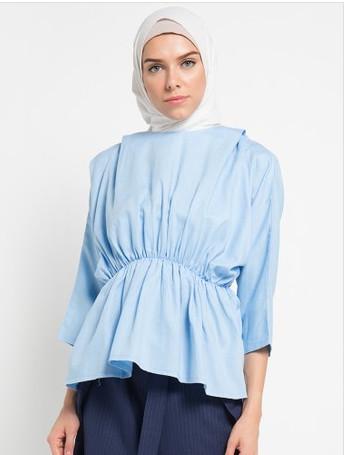 Belcorpo pakaian muslim wanita moshe top - biru - biru muda xxl