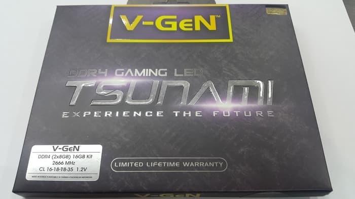 Jual RAM DDR4 V-GeN TSUNAMI 16GB 2666MHz CL16 (2X8GB)LED GAMING OVERCLOCK -  Berkah Techno Jaya | Tokopedia