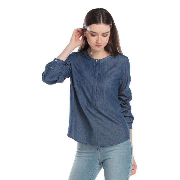 levi's sandy popover bib shirt - light wash blue 55658-0000 - biru s