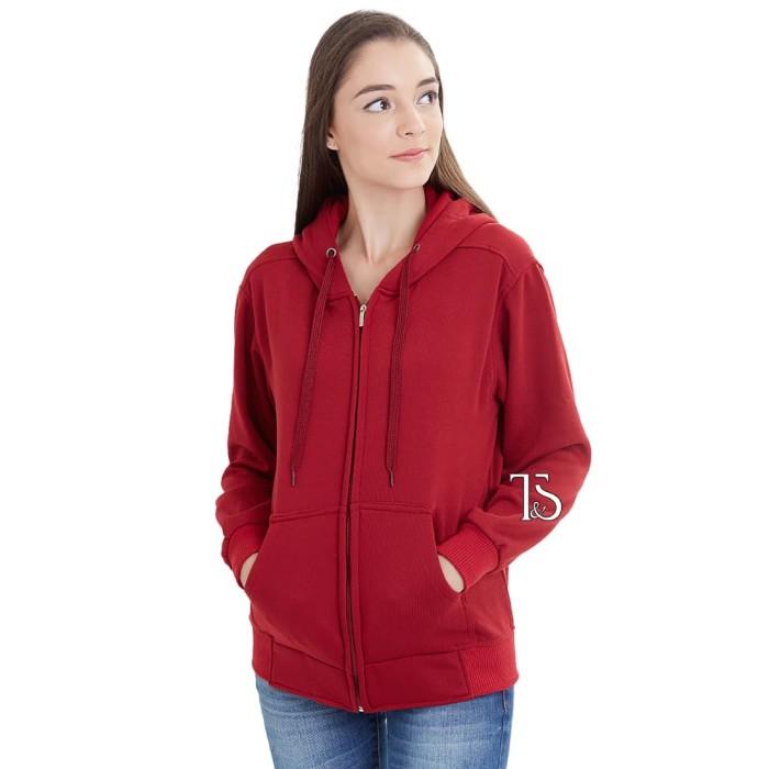 Jual Jaket Hoodie Zipper Merah Maroon Polos Wanita M - XL ... ad54cfa717