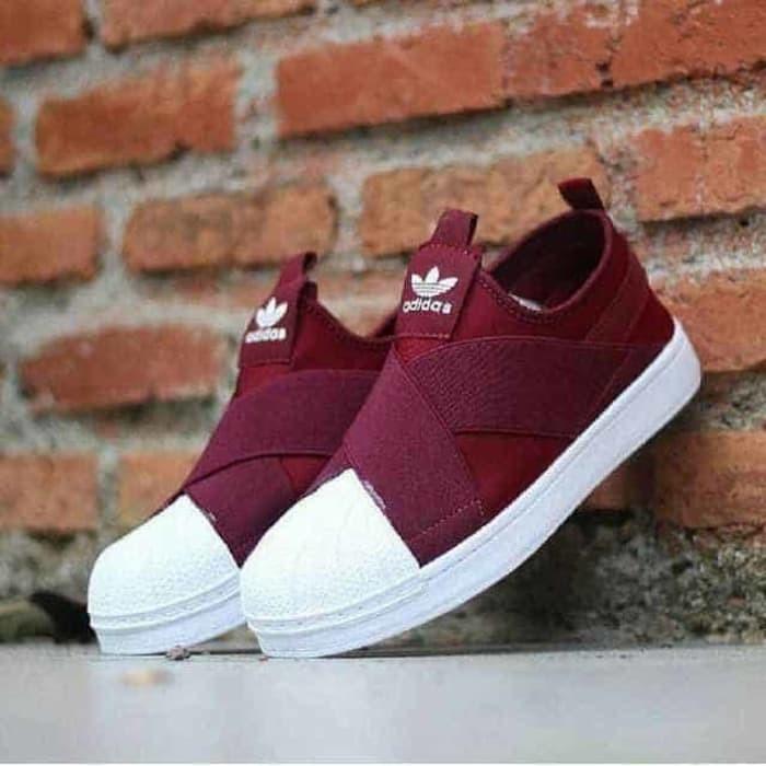 sports shoes 8cd41 9d436 Jual sepatu sneakers casual slop adidas superstar slip on maroon cewek -  Maroon, 36 - DKI Jakarta - elts shoes | Tokopedia