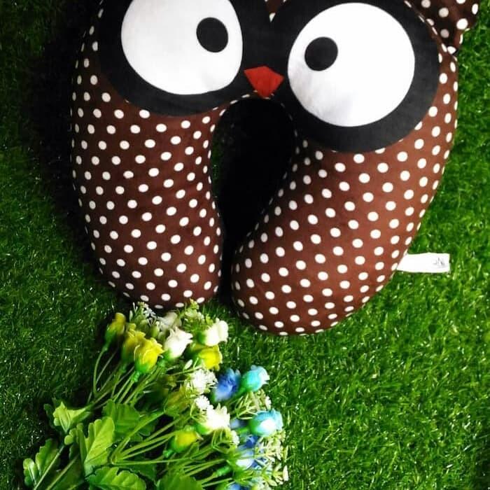 Travel Pillow / Neck Pillow / Bantal Leher Kualitas SNI - BROWN OWL