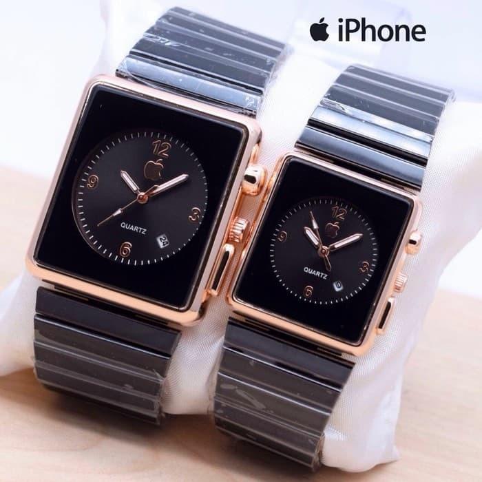 Jam Tangan Iphone Couple Apple Watch Touch Rantai Jam Pria Wanita - Black Rose