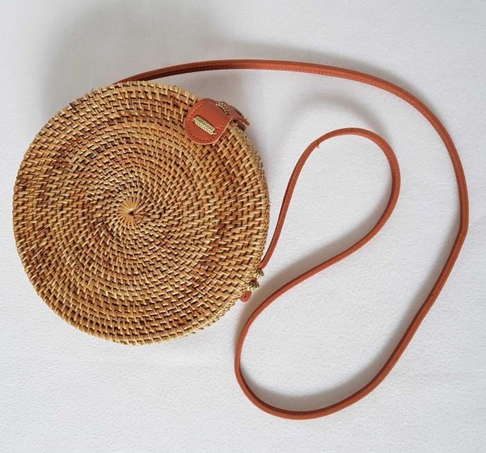 Tas Rotan / Ate Bulat Bali - Polos - Natural - 18cm - Klip