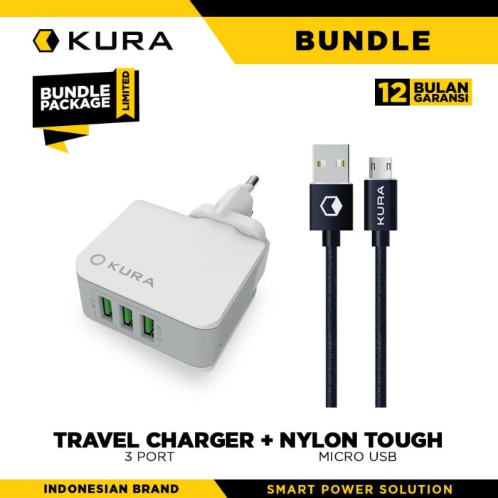 bundle kura travel charger 3 port + nylon tough cable micro usb - merah